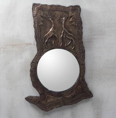 Aluminum and wood wall mirror, 'Ghana Giraffes' - Aluminum Repousse and Sese Wood Ghana Giraffes Mirror