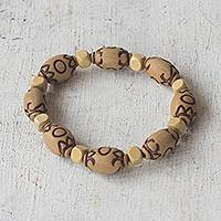 Wood and recycled plastic beaded stretch bracelet, 'Eco Life' - Beige Wood and Recycled Plastic Beaded Stretch Bracelet