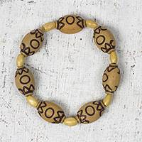 Wood and recycled plastic beaded stretch bracelet, 'Beautiful Stroll' - Wood and Recycled Plastic Beaded Stretch Bracelet from Ghana