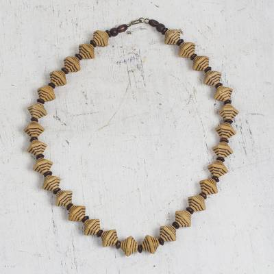 Wood and recycled plastic beaded necklace, 'Eco Pyramids' - Pyramid-Shaped Wood and Recycled Plastic Beaded Necklace