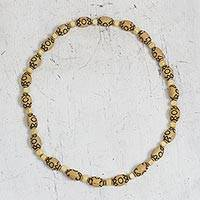 Wood and recycled plastic beaded necklace, 'Eco Life' - Wood and Recycled Plastic Beaded Necklace from Ghana