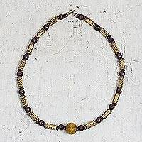Wood and recycled plastic beaded necklace, 'Forever Loving' - Curl Motif Wood and Recycled Plastic Beaded Necklace