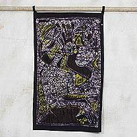 Batik cotton wall hanging, 'Ibale Arewa' - Signed Cultural Batik Cotton Wall Hanging from Ghana