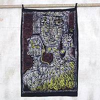 Batik cotton wall hanging, 'Olori Queen' - African Royalty Batik Cotton Wall Hanging from Ghana