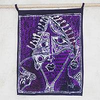 Batik cotton wall hanging, 'Purple Oju Orisha' - Signed Batik Cotton Wall Hanging in Purple from Ghana