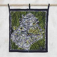 Batik cotton wall hanging, 'Elerin Mask' - African Mask Batik Cotton Wall Hanging from Ghana