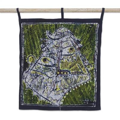 African Mask Batik Cotton Wall Hanging from Ghana
