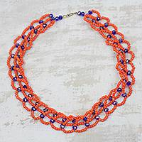 Beaded necklace, 'Oranges and Blueberries' - Orange and Blue Recycled Plastic Beaded Statement Necklace