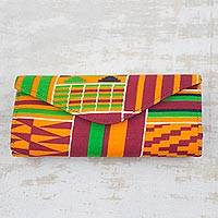 Cotton clutch, 'Neon Kente Style' - Multi-Colored African Kente Print Cotton Clutch