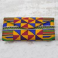 Cotton clutch, 'Bold Kente Style' - Artisan Crafted Geometric Cotton African Kente Print Clutch