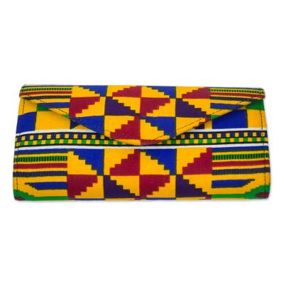 Artisan Crafted Geometric Cotton African Kente Print Clutch