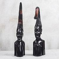 Wood sculptures, 'African Couple' (pair) - Hand-Carved Wood Man and Woman Sculptures from Ghana (Pair)