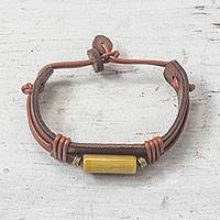 Men's horn and leather wristband bracelet, 'Fusion in Tan' - Handcrafted Men's Horn and Leather Wristband Bracelet