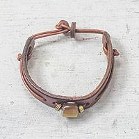 Men's horn and leather wristband bracelet, 'Stand Out' - Handmade Men's Horn and Leather Wristband Bracelet