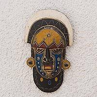 African wood mask, 'Ornate Visage' - Colorful African Wood Mask from Ghana