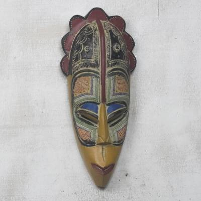 African glass beaded wood mask, 'Esihle Face' - Colorful African Glass Beaded Wood Mask from Ghana