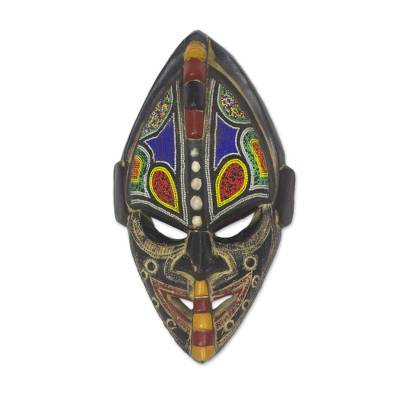African wood mask, 'Thamsanqa' - Multi-Color Hand Carved Wood African Good Luck Wall Mask