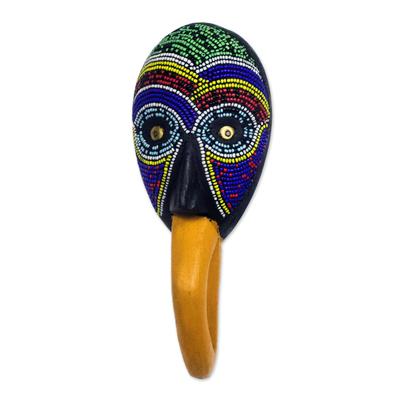 African glass beaded wood mask, 'Nawa Bird' - African Glass Beaded Wood Bird Mask from Ghana