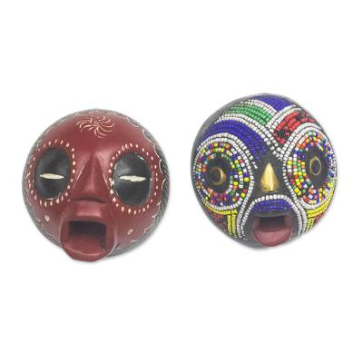 African glass beaded wood masks, 'Ikhwzi Duo' (pair) - African Sese Wood and Recycled Glass Beaded Masks (Pair)