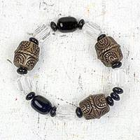Recycled plastic beaded stretch bracelet, 'Friend of Nature' - Recycled Plastic Beaded Stretch Bracelet from Ghana