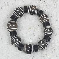 Ceramic and recycled plastic beaded stretch bracelet, 'Dark Champion' - Ceramic and Recycled Plastic Beaded Stretch Bracelet