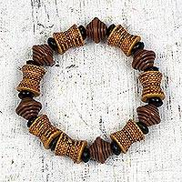 Recycled plastic beaded stretch bracelet, 'Brown Style' - Recycled Plastic Beaded Stretch Bracelet in Brown from Ghana