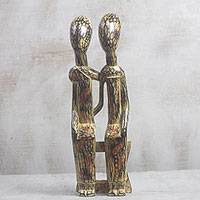 Wood sculpture, 'Old Couple'
