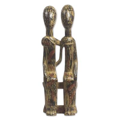 Wood sculpture, 'Old Couple' - Handmade Sese Wood Sculpture of a Sitting Couple from Ghana