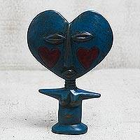 Wood fertility doll, 'Blue Lover' - Handcrafted Sese Wood Fertility Doll in Blue from Ghana