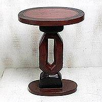 Wood accent table, 'Red Shape' - Handmade Cedar Wood Accent Table in Red from Ghana