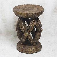 Brass and wood stool, 'Links of Unity' - Embossed Brass and Sese Wood Stool from Ghana
