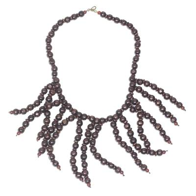 Woob beaded waterfall necklace,