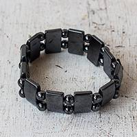 Hematite beaded stretch bracelet, 'Shimmer and Sheen' - Rectangular and Round Hematite Bead Stretch Bracelet