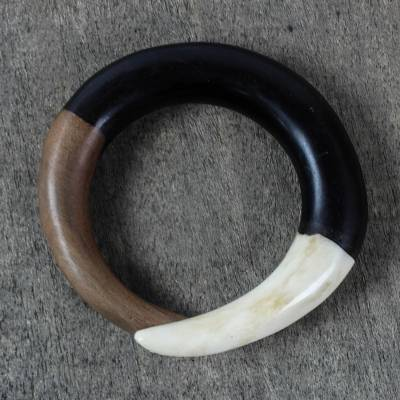 Ebony and bone bangle bracelet, Bold Curve