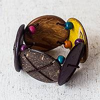 Coconut shell stretch bracelet, 'Island Party' - Coconut Shell and Colorful Wood Bead Stretch Bracelet