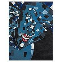 'The Date' - Signed Expressionist Painting of a Woman in Blue from Ghana