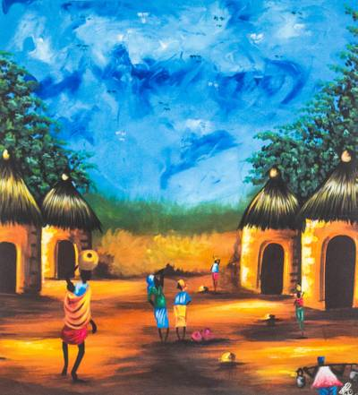 Signed Impressionist Village Landscape Painting From Ghana African