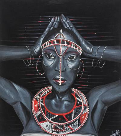 Expressionist Painting Of A Woman In Traditional Dress African
