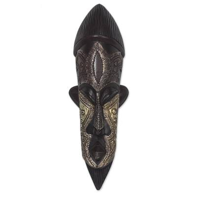 African wood mask, 'Have Patience' - Handcrafted Sese Wood and Aluminum African Mask from Ghana