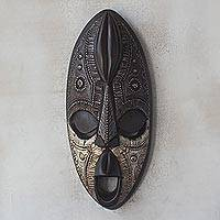 African wood mask, 'Cocoa Head' - Cocoa-Themed Sese Wood African Mask from Ghana