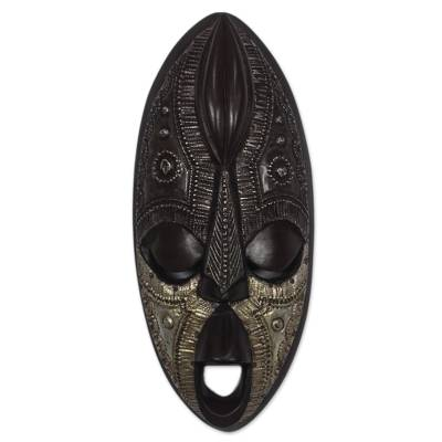 Cocoa-Themed Sese Wood African Mask from Ghana