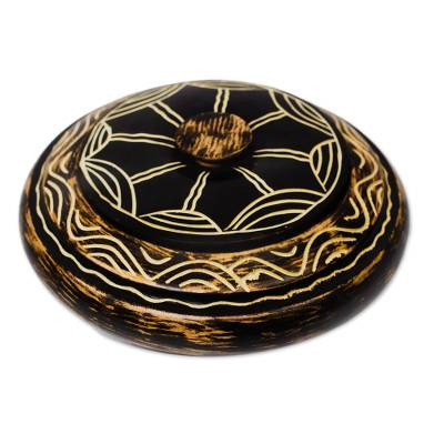 Handmade Sese Wood Decorative Jar from Ghana