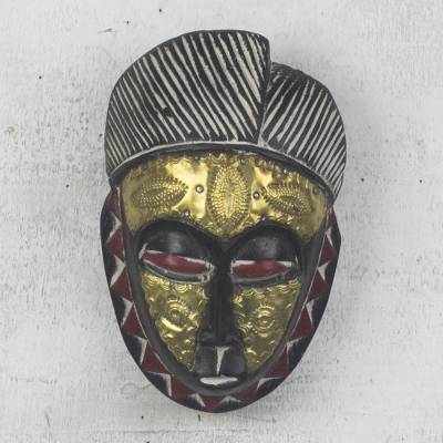 African wood mask, 'Gold Baule' - African Wood Baule-Inspired Mask from Ghana