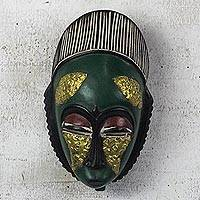 African wood mask, 'Green Baule' - Green and Gold African Wood Baule-Inspired Mask from Ghana