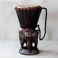 Wood drum, 'Eagle Call' - Brown and Red Handcrafted Wood Djembe Drum with Eagle Base