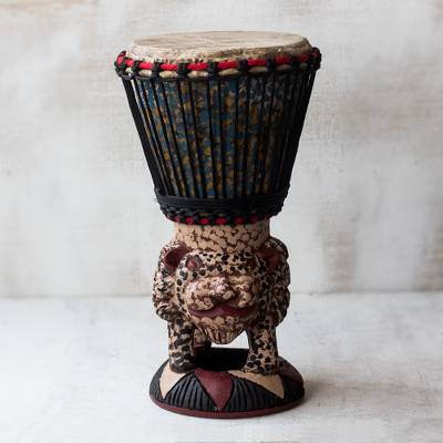 Wood drum, 'Tiger Call' - Brown and Cream Handcrafted Wood Djembe Drum with Tiger Base