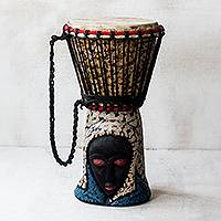 Wood drum, 'Ohemmaa' - Brown and Cream Handcrafted Wood Djembe Drum with Woman Base