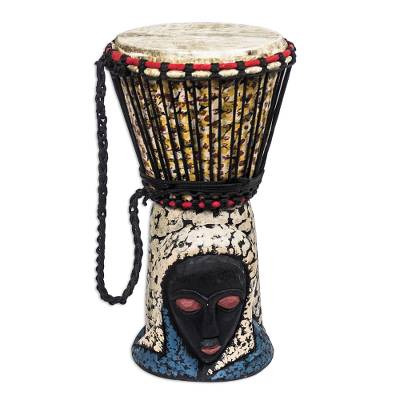 Brown and Cream Handcrafted Wood Djembe Drum with Woman Base