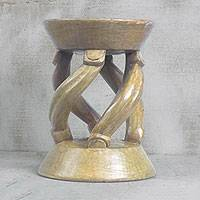 Wood decorative stool, 'Angelic Curves' - Handmade Wood Decorative Stool in Brown from Ghana