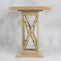 Wood decorative accent table, 'Triangle Arches' - Cedar Wood Decorative Accent Table from Ghana